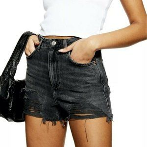 TopShop Moto Mom Shorts 4 High Waisted Distressed